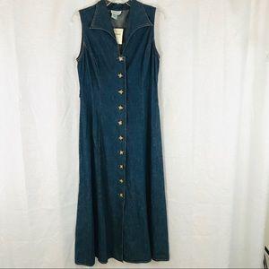 NWT🌟 COLDWATER CREEK Sleeveless Denim Midi Dress